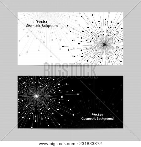Set Of Horizontal Banners. Geometric Pattern With Connected Lines And Dots. Vector Illustration On B