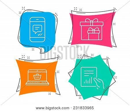 Set Of Online Shopping, Delivery Boxes And Message Icons. Document Sign. Notebook With Shopping Cart