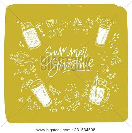 Summer Smoothie Lettering Written With Cursive Font Surrounded By Refreshing Drinks Or Fresh Delicio