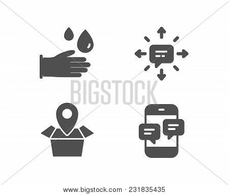 Set Of Sms, Package Location And Rubber Gloves Icons. Phone Messages Sign. Conversation, Delivery Tr