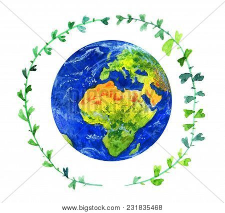 Earth Planet In Green Twig Circle. Hand Drawn Watercolor Illustration Isolated On White Background