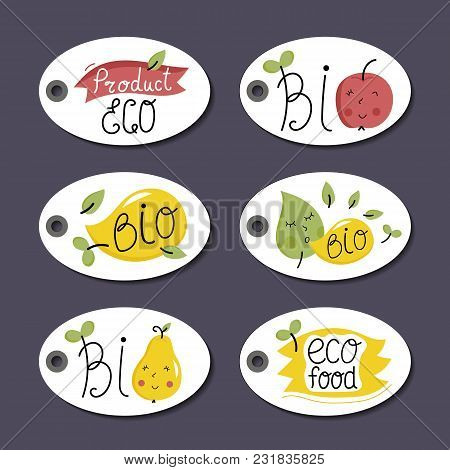 Eco And Bio Food Labels Set Isolated On Perpl Background. Natural Products Price Tags For Organic Fo