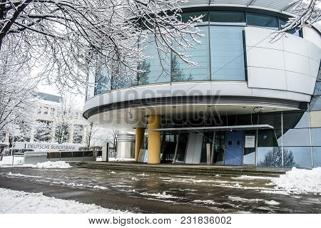 Munich , Germany - February 18 2018 : The German Bundesbank Is Warning Against Consequences Of Black