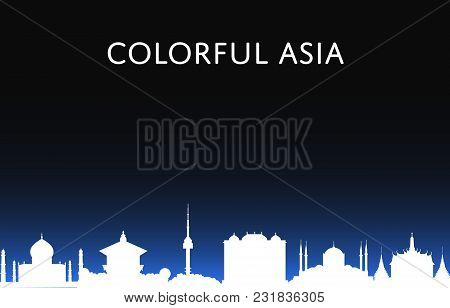 Colorful Asia Banner With Night Cityscape Silhouette. Vector Illustrations Of Famous Modern And Anci