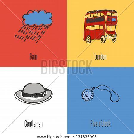 British National, Cultural, Fashion, Nature Symbols. Rain, Double-decker Bus, Pocket Watch, Bowler H