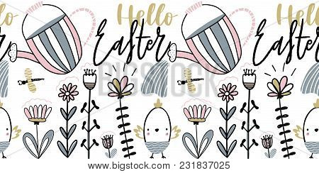 Easter Card With Calligraphy Lettering Hello Easter. Handwritten Vector Illustration With Chiks, Wat