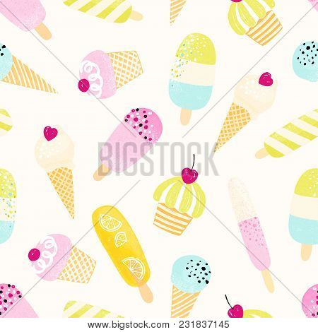 Cute Seamless Pattern With Ice Cream In Pastel Colors. Vector Summer Illustration.