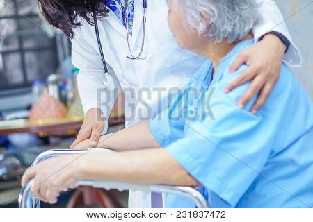 Touching Hands Asian Senior Or Elderly Old Lady Woman Patient With Love, Care, Encourage And Empathy