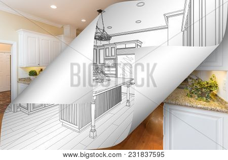 Kitchen Drawing Page Corners Flipping with Photo Behind.