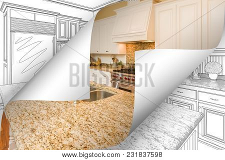 Kitchen Photo Page Corners Flipping with Drawing Behind.