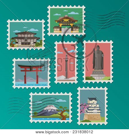 Japanese Postage Stamps And Postmarks On Green Background, Isolated Vector Illustration. Torii Gate,