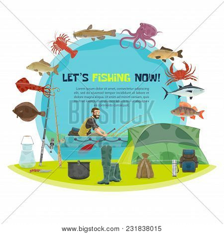 Fishing And Fisherman Poster Of Fisher On Lake In Inflatable Boat For Fish Catch. Vector Flat Design