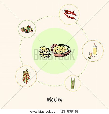 Attractive Mexico. Lecho And Tortilla Colored Doodle Surrounded Hot Pepper Chilli, Corn, Tequila, Bu