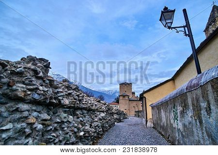 Old Buildings In The Old Town Of Aosta (italy).