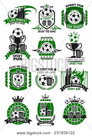Soccer Sports Bar Icons Template For Football Championship Pub Menu. Vector Isolated Design Set Of B