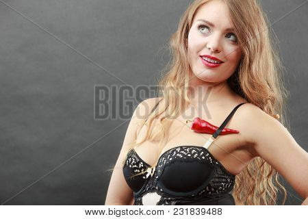 Sensual Seductive Attractive Woman Wearing Lingerie Posing With Chilli Pepper. Erotic, Fashion Conce