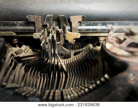 Typewriter / Close Up View Of Old Typewriter Keys