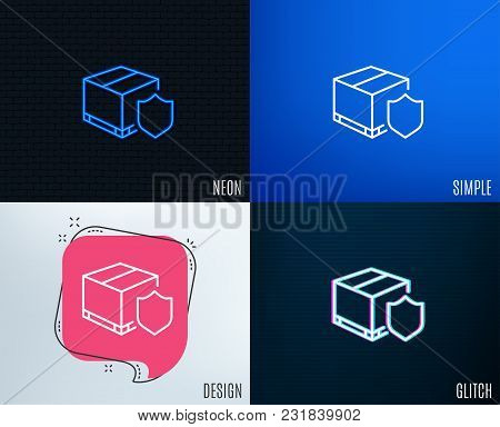 Glitch, Neon Effect. Delivery Insurance Line Icon. Parcels Tracking Sign. Shipping Box Symbol. Trend