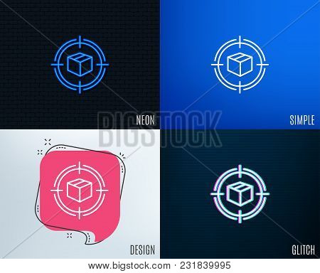 Glitch, Neon Effect. Parcel Tracking Line Icon. Delivery Monitoring Sign. Shipping Box In Target Sym