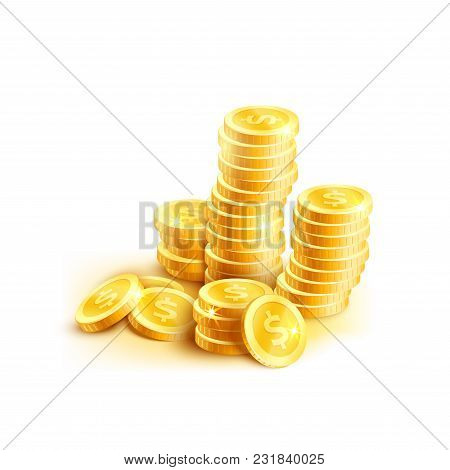 Golden Coins Pile Or Gold Cent Coin Pile Isolated Icon. Vector Golden Dollar Coins Money For Casino