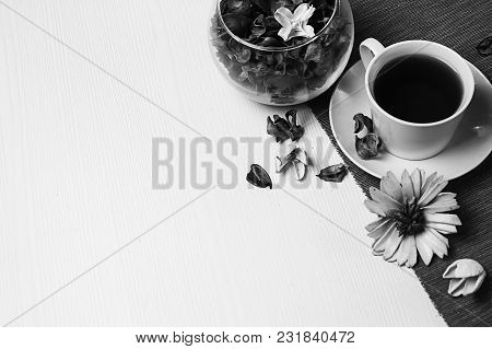 Jam Tea On The Table Black And White Poster