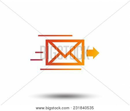 Mail Delivery Icon. Envelope Symbol. Message Sign. Mail Navigation Button. Blurred Gradient Design E