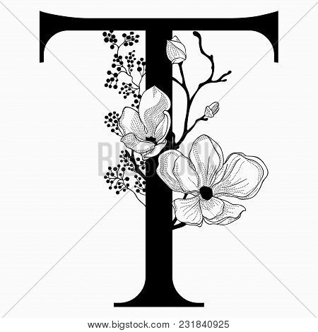 Vector Hand Drawn Floral T Monogram Or Logo. Uppercase Letter T With Flowers And Branches. Cherry Bl