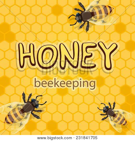 Honey Or Beekeeping Product Poster Design Of Bees Swarm On Honeycomb Background. Vector Flat Honey B