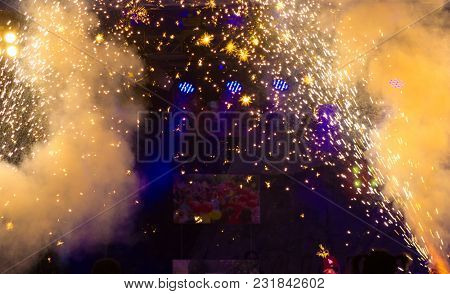 abstract fireworks with empty space