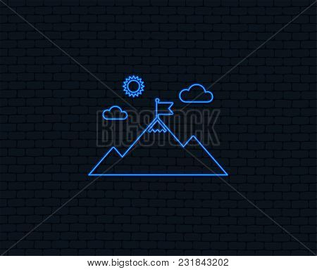 Neon Light. Flag On Mountain Icon. Leadership Motivation Sign. Mountaineering Symbol. Glowing Graphi