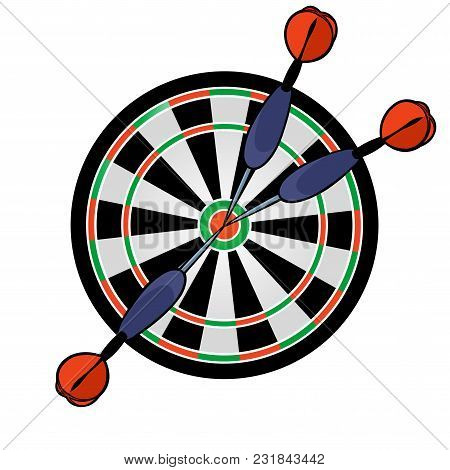 Cartoon Dartboard With Darts Hitting In The Target On White Background