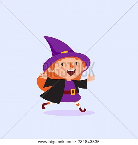 Halloween Witch Runs And Rejoices Girl In The Witch Costume Funny Character Isolated Element From Th