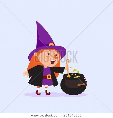 Halloween Witch Cooks A Magic Potion In A Cauldron Girl In A Witch Costume Funny Character Isolated