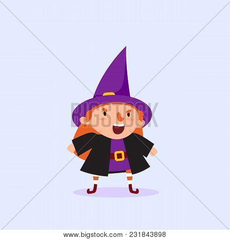 Halloween Witch Shouting Girl In A Witch Costume Funny Character Isolated Element From The Set For A