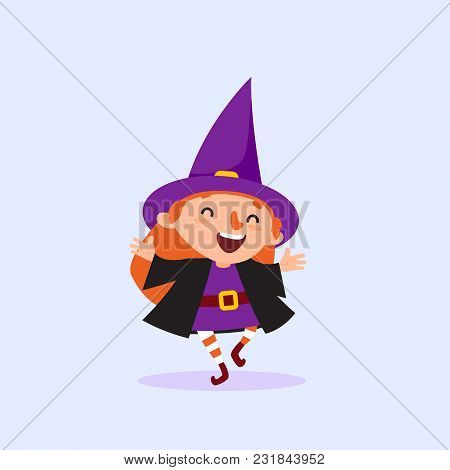 Halloween Witch Laughing And Dancing Girl In The Witch Costume Having Fun Cute Character Isolated El
