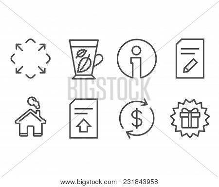 Set Of Mint Leaves, Edit Document And Usd Exchange Icons. Maximize, Upload File And Surprise Gift Si