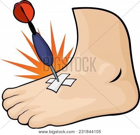 Cartoon Foot With A Dart Thrust Into It On White Background