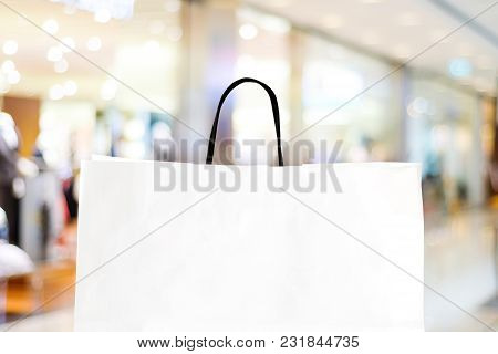 White Shopping Bag Over Blurred Store Background, Business, Template, Retail, Sale