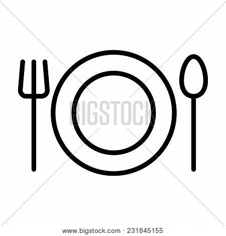 Plate, Fork And Spoon Line Icon.  96x96 For Web Graphics And Apps.  Restaurant Simple Minimal Pictog