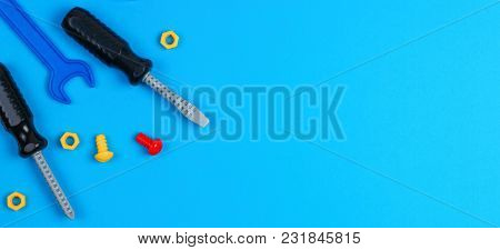 Toys Banner Background. Kids Toys Tools On Blue Background