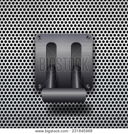 Metal Toggle Switch On Metal Background. Vector Illustration.