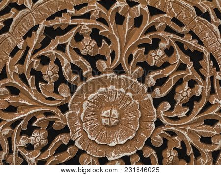 Fragment Of Wooden Brown Toned Interior Decoration, Close-up