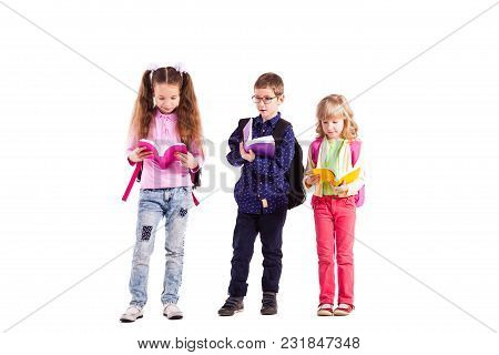 Pupils With Backpacks Holding Books Isolated On White