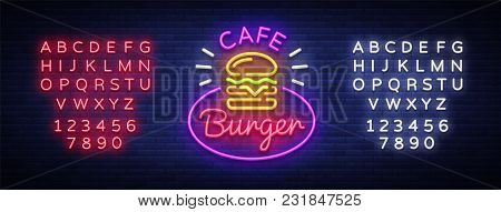 Burger Cafe Neon Sign. Fastfood Burger Sandwich Neon Logo, Bright Banner, Design Template, Night Neo
