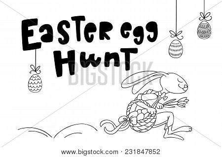 Easter Rabbit Is Jumping With Flowers And Basket Full Of Decorated Eggs, And Handwritten Text Easter