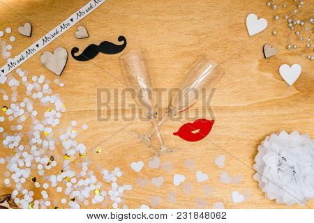 Wedding Decoration For Party With Confetti, Pearls And Hearts From Above