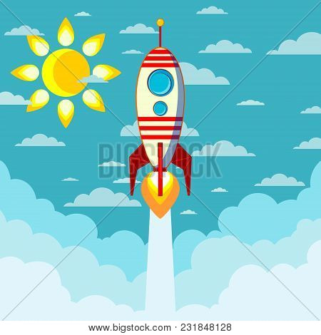 A Rocket Ship Flies Into Space. In The Sky The Sun And Clouds. Vector Illustration.