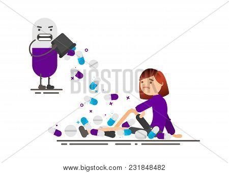 Pills Fall On A Woman. Health. Cartoon Illustration