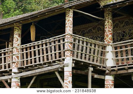 Kuching, Malaysia - August 26, 2009: Exterior Detail Of The Typical Orang Ulu Tribal Long House At T