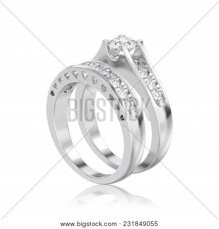 3d Illustration Isolated White Gold Or Silver Two Shanks Decorative Diamond Ring With Reflection On